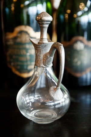 French Crystal & Pewter Decanter