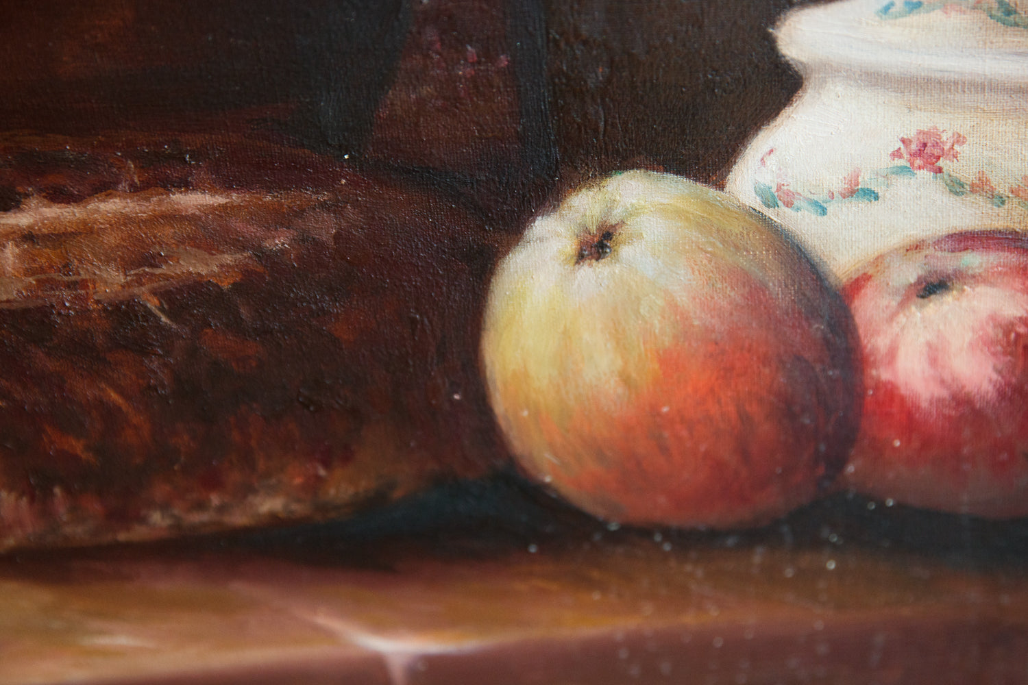 French Oil Canvas - Apples & Bread