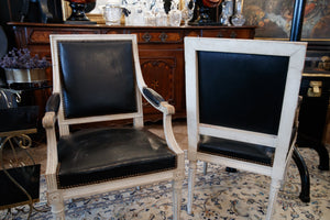 French Louis Chairs with Vintage Black Leather