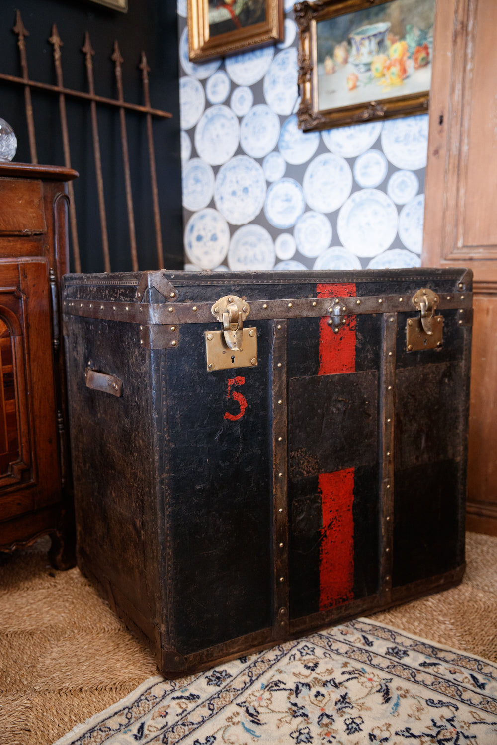 19th Century French Leather Travelling Trunk