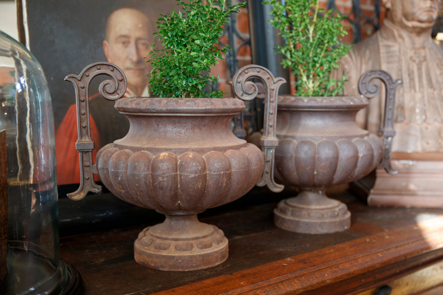 19th Century French Cast Iron Urns