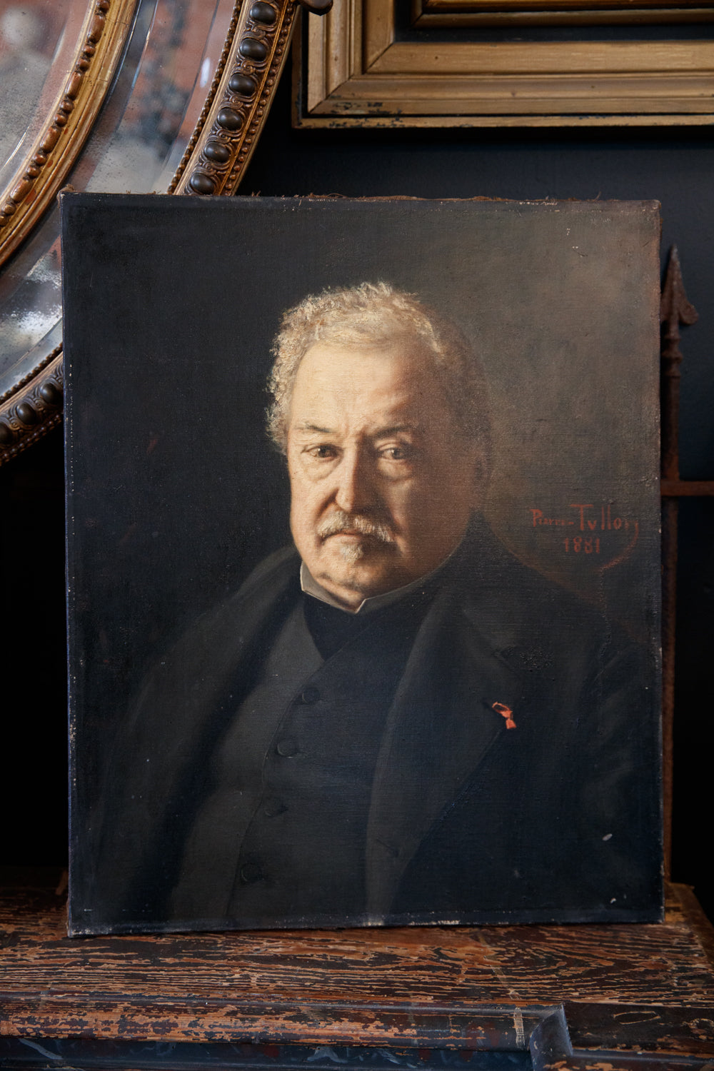French 19th Century Portrait Of Gentle Monsieur - Oil On Canvas