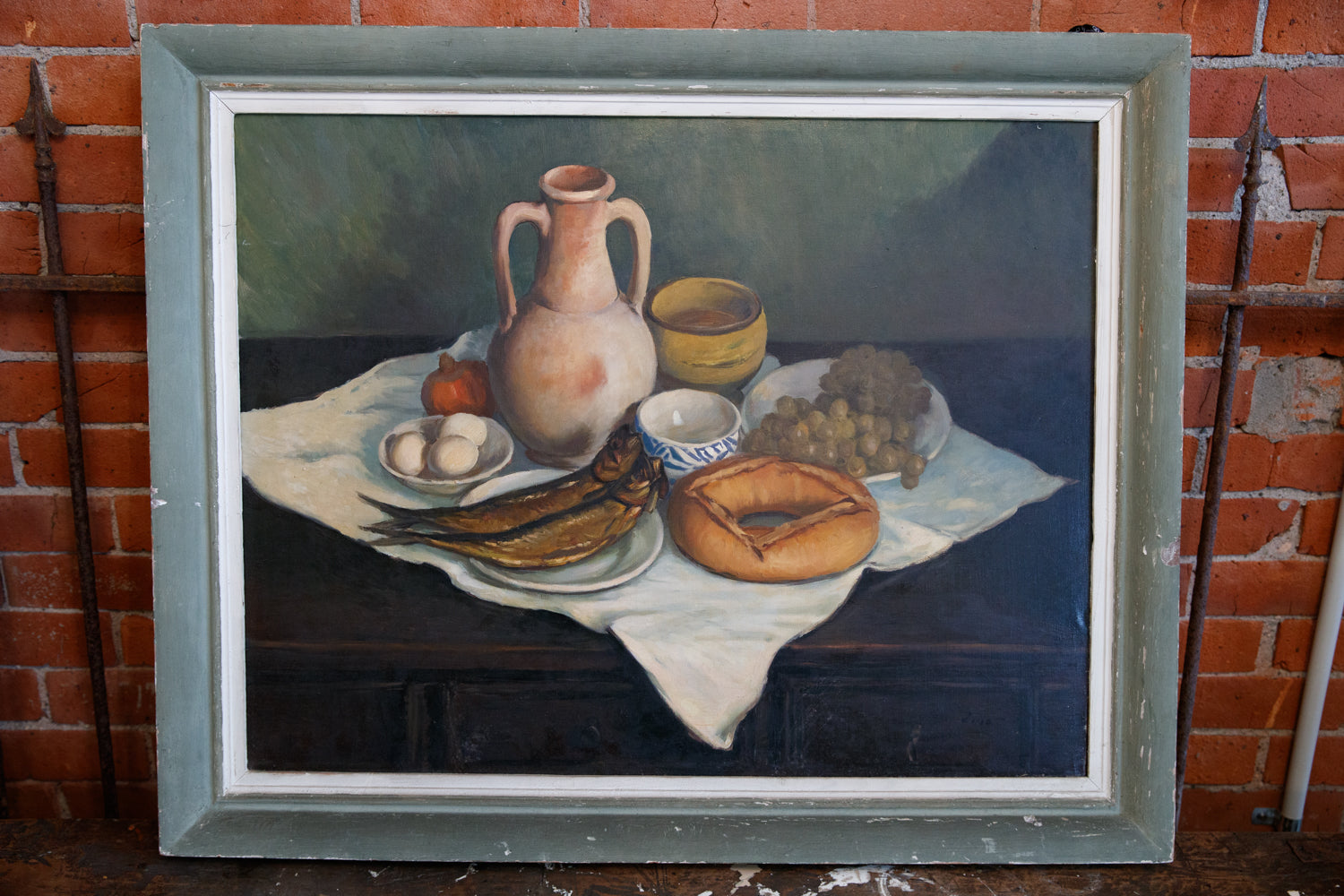 French Still Life Oil On Canvas - Dejeuner