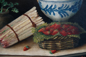 French 19th Century Oil Canvas Still Life - Strawberries
