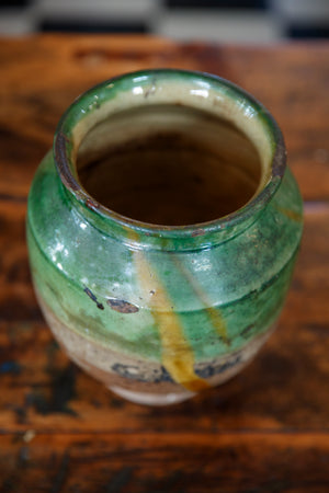 French Green Glazed Confit Pot