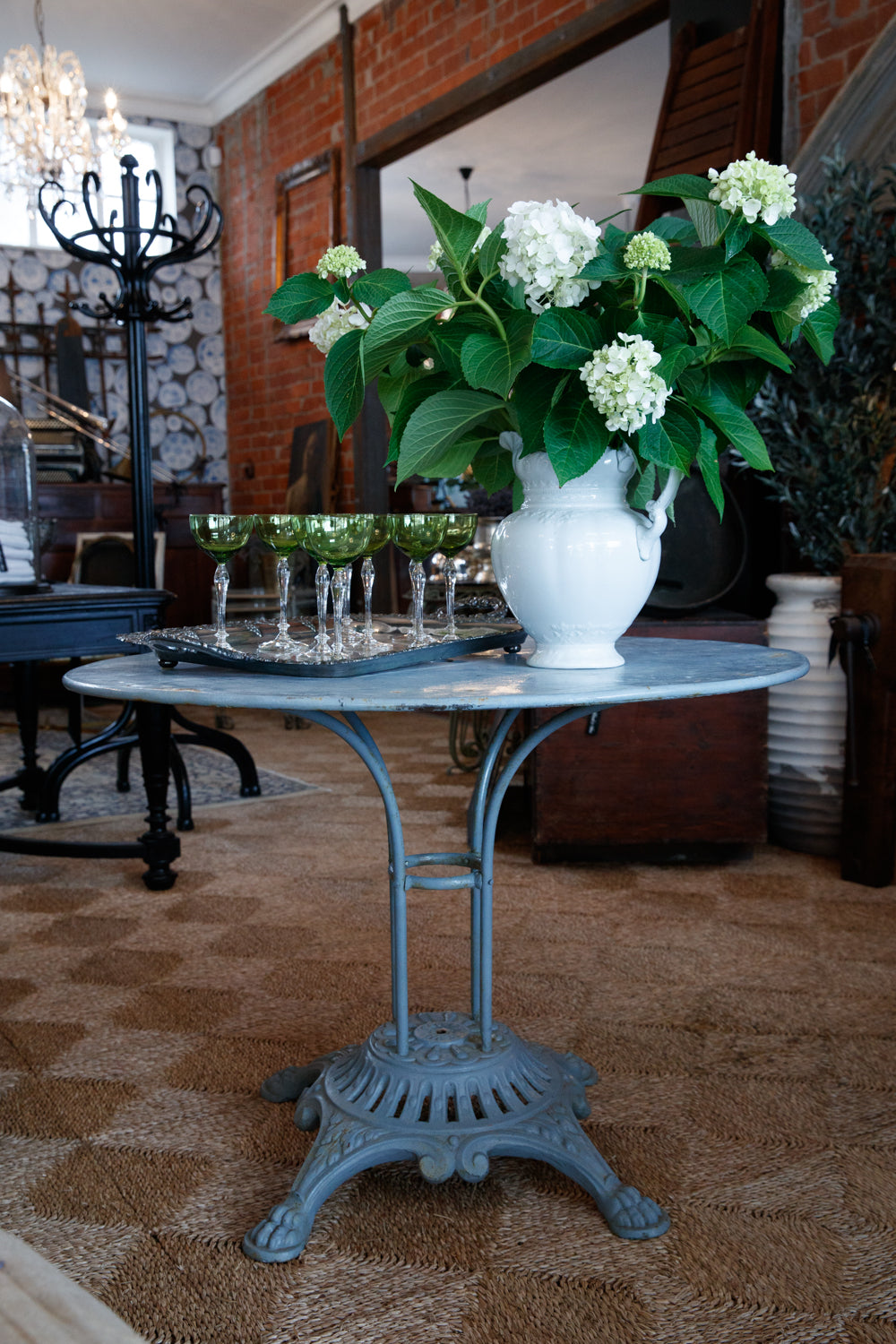 Vintage French Bleu Iron Garden Table