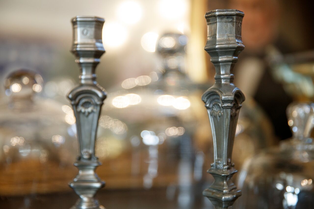 French Pewter Candlesticks