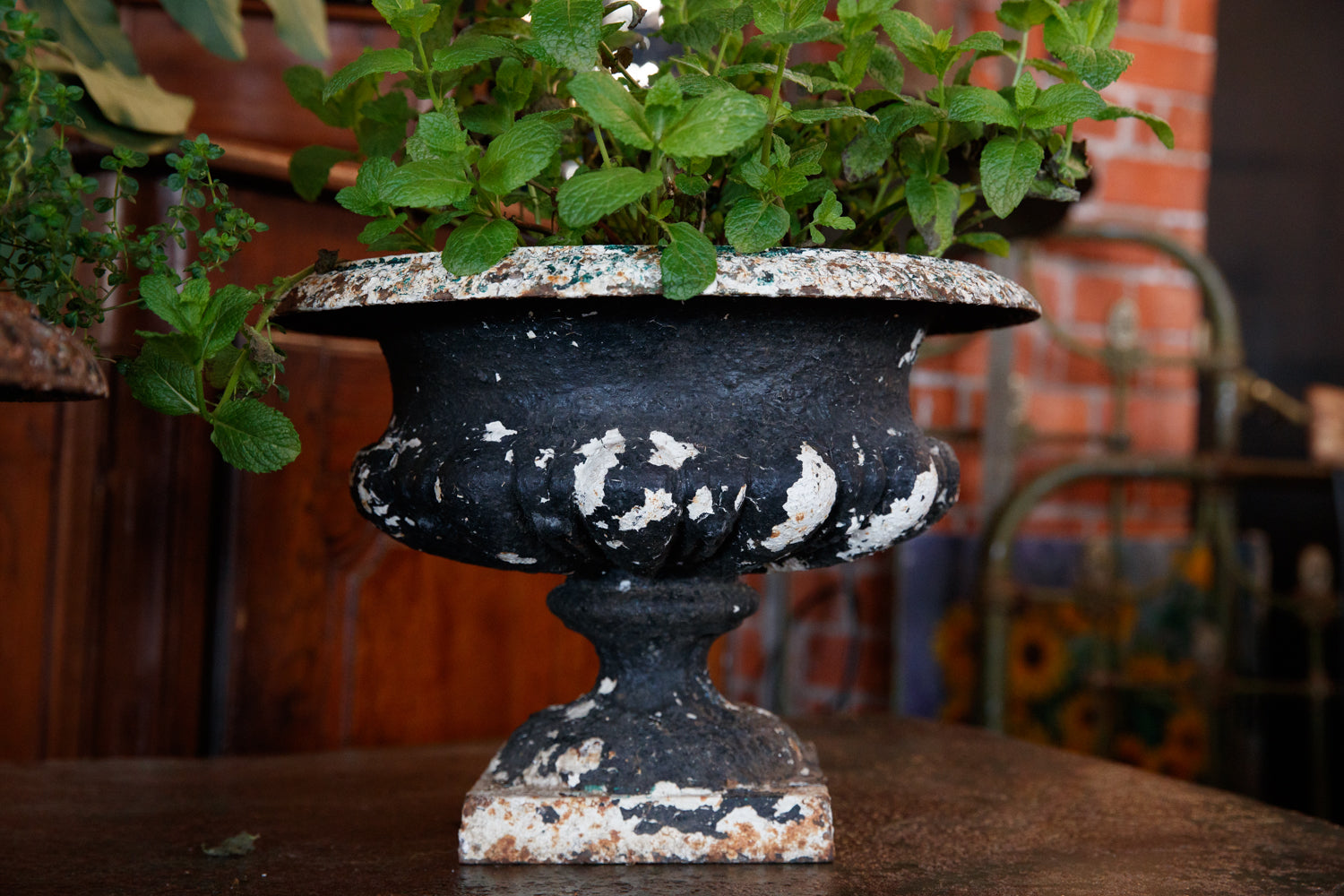 Vintage French Cast Iron Urns