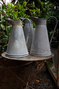 Original Vintage French Zinc Jugs