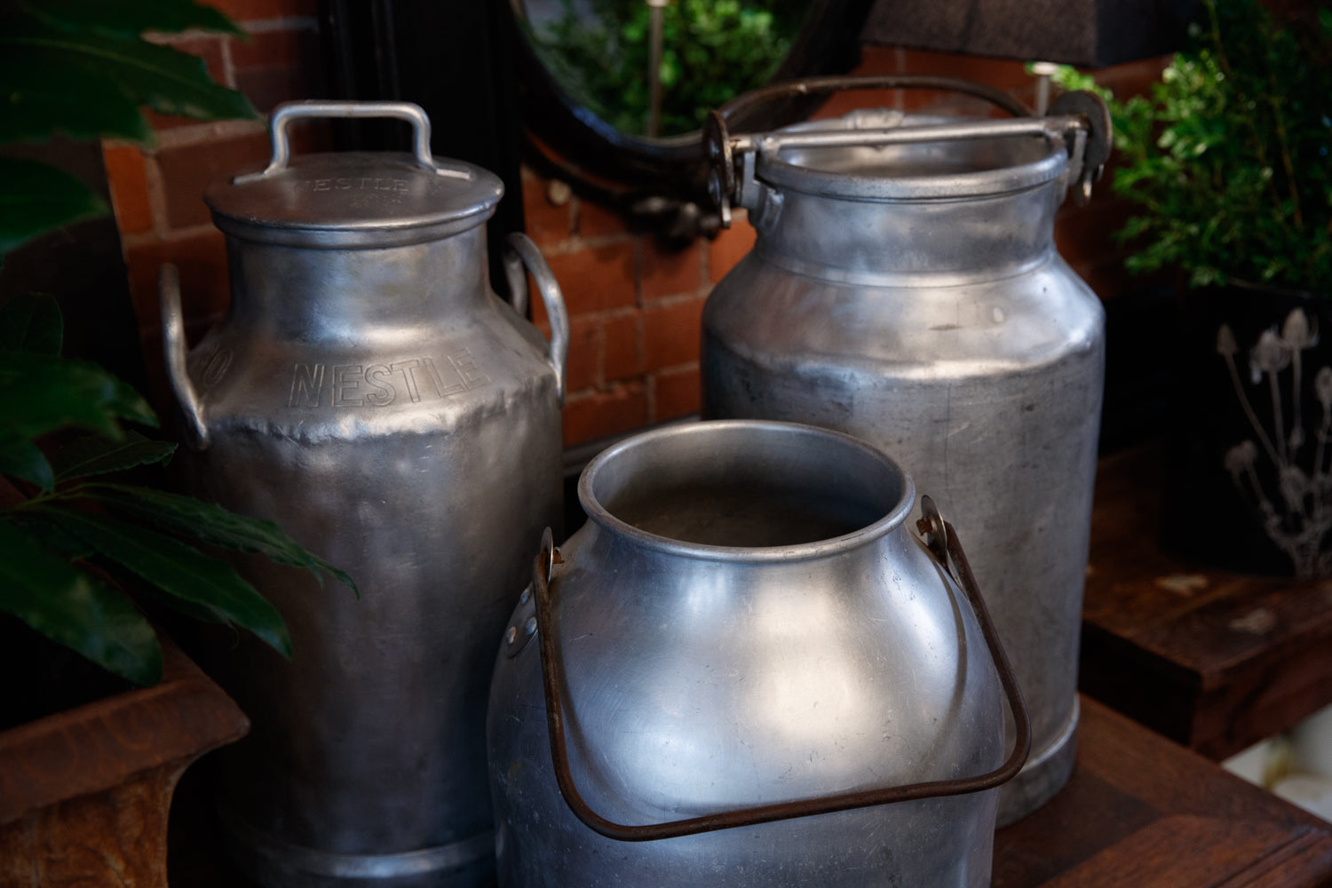 Vintage Polished Zinc Milk Churns
