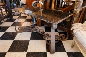 French Marble Wrought Iron Table