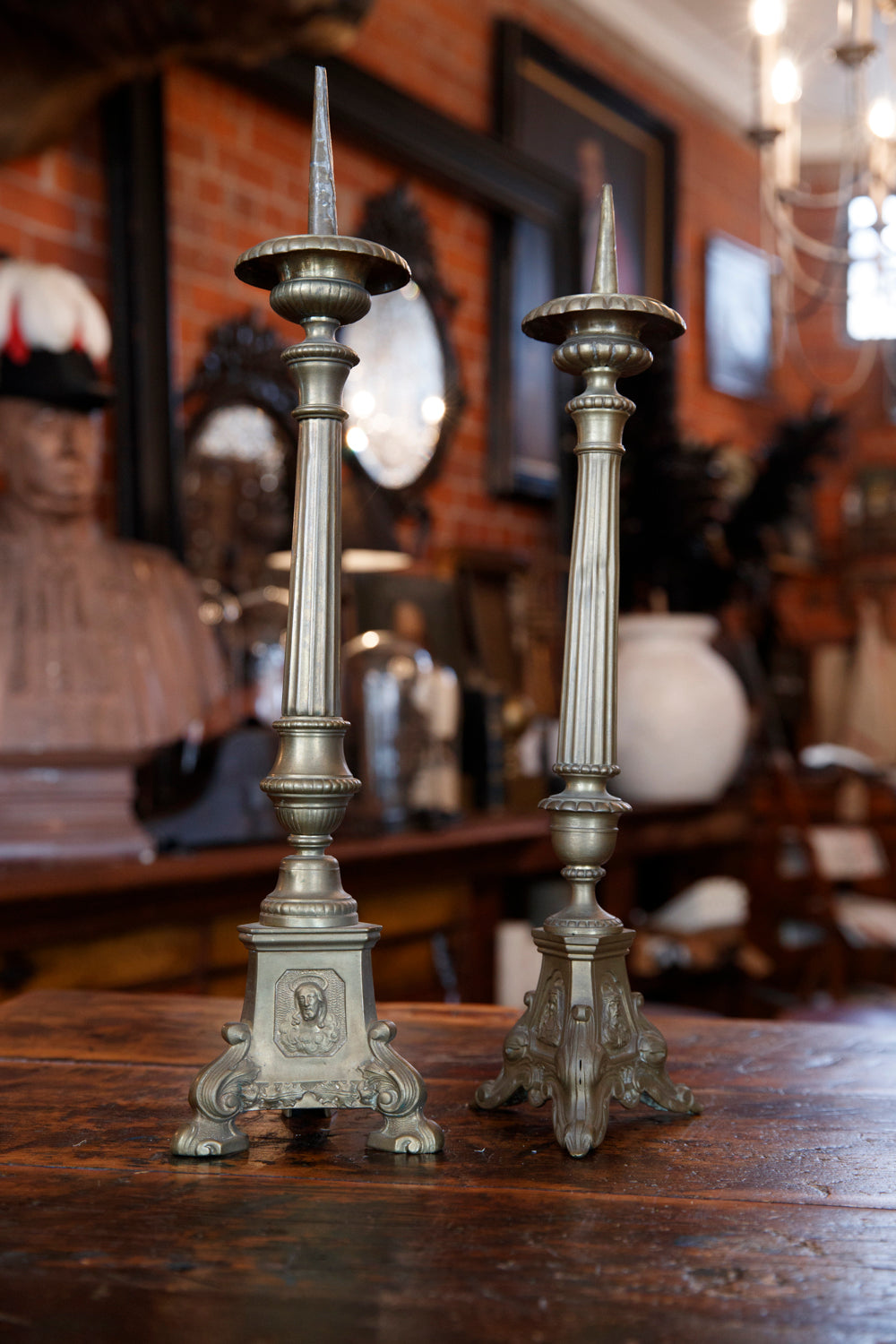 French Brass Altar Candlesticks
