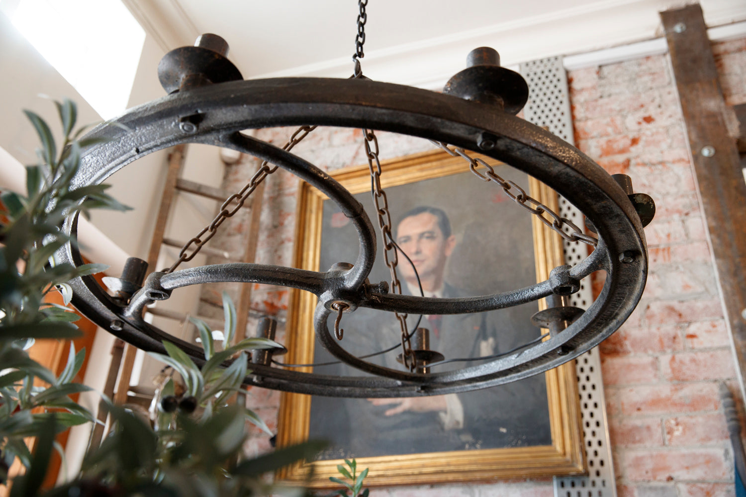 Vintage Industrial Iron Wheel Light