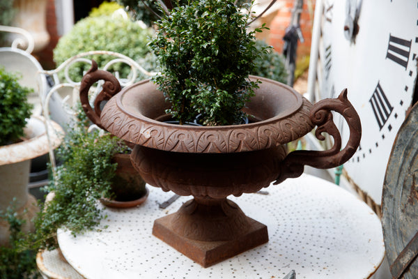 Large French Cast Iron Urn - Rust Patina
