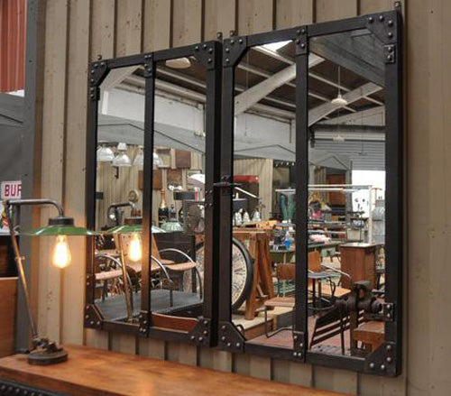 Industrial Factory Window Frame Mirrors