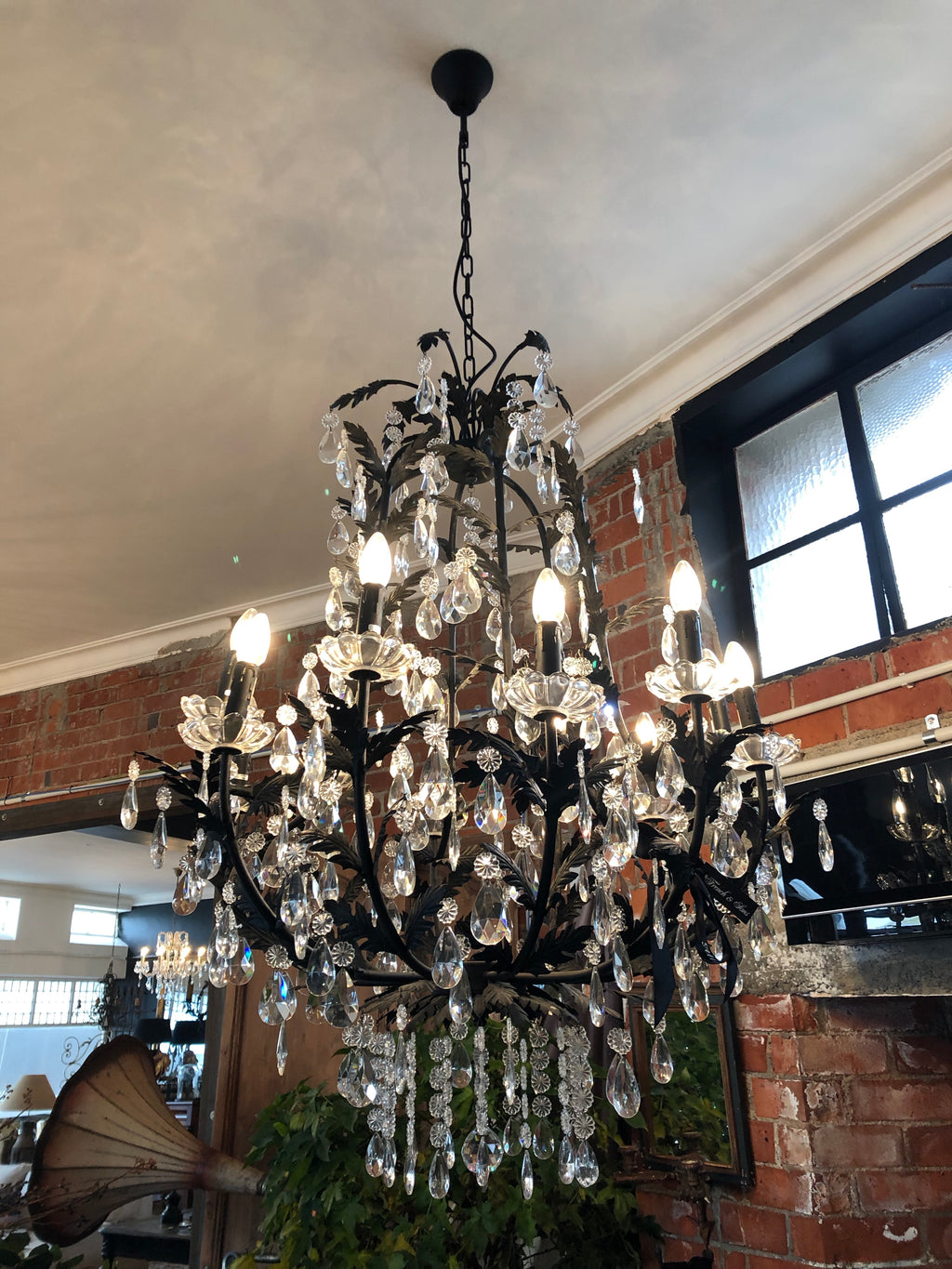 Large Black Leaf Detail Chandelier