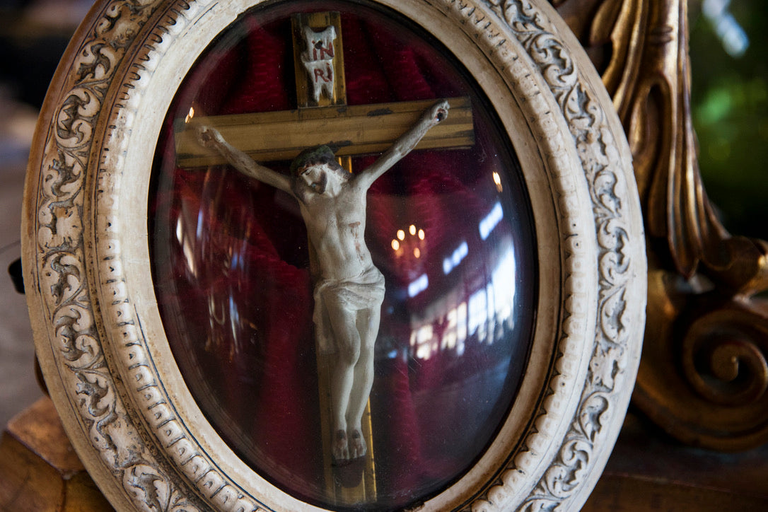 Original French Crucifix In Glass Frame - No 1