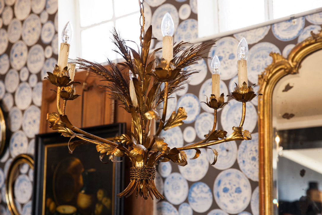 Vintage French Gold Leaf Wheat Chandelier