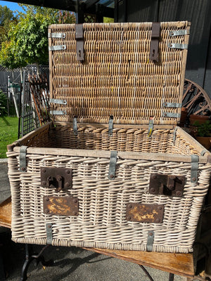 Vintage French 1920's Cane Hamper