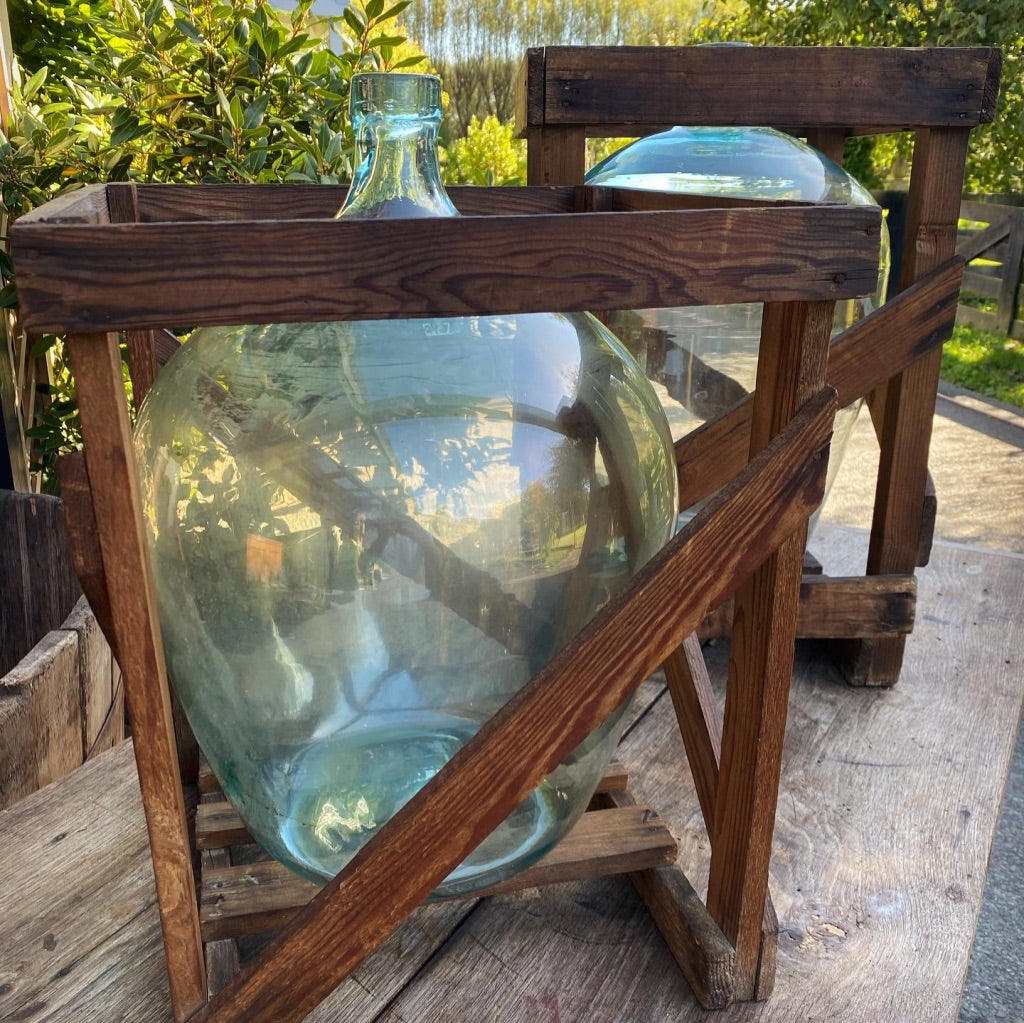 Antique Crated Clear Demi John Bottles