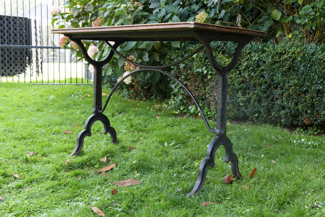 French Oak & Cast Iron Bistro Table