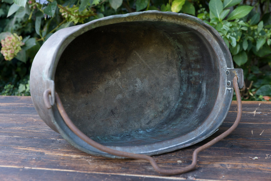 Large Vintage French Oval Brass Cauldron