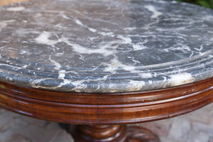 19th Century French Mahogany & Marble Salon Table