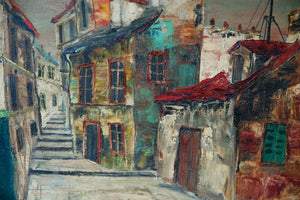 French Oil On Canvas - French Village