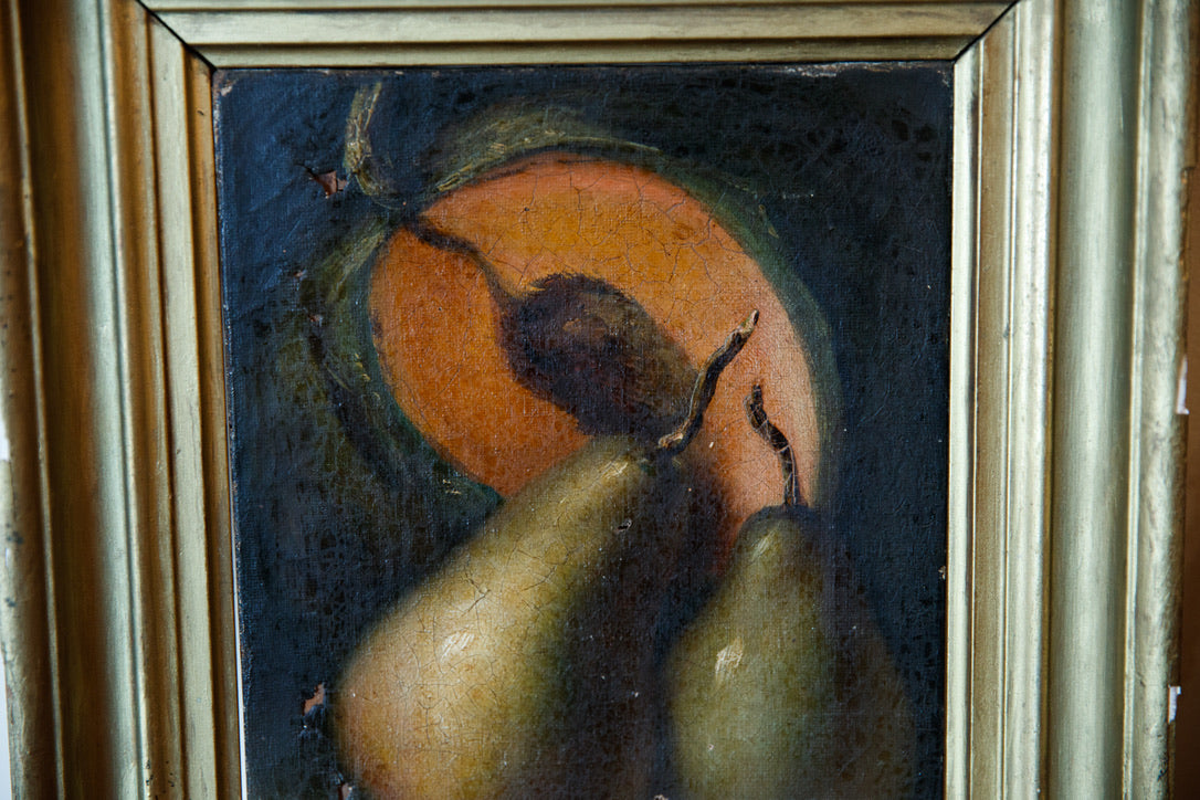 French Oil Still Life Canvas - Green Pears