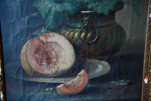 Gold Gilded Framed Oil Canvas - Melon