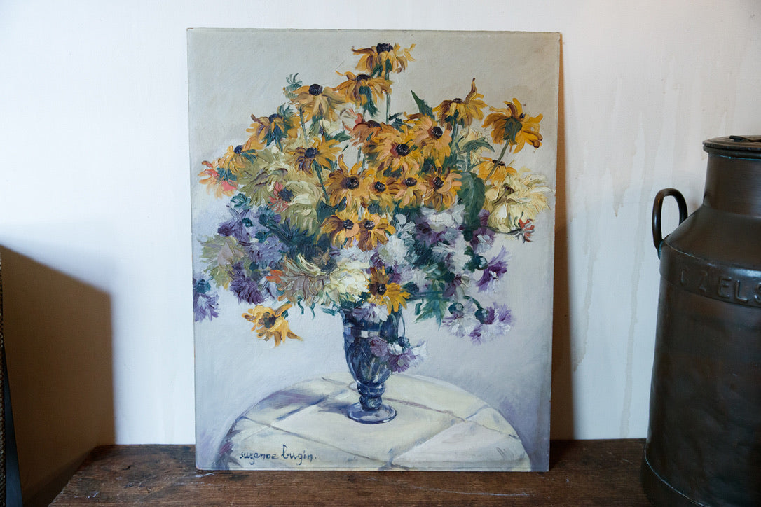 French Oil On Board - Daisys