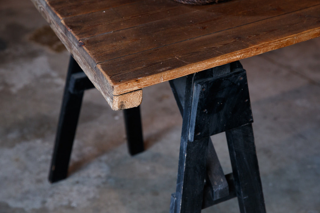 French Wooden Trestle Table
