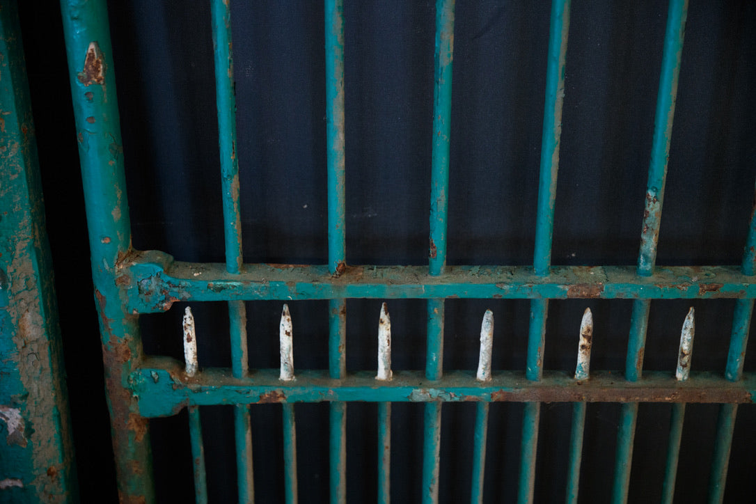 19th Century French Iron Entrance Gates - Green Patina