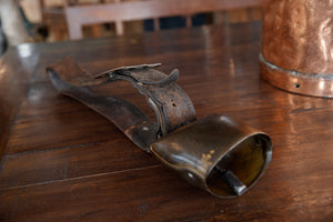 Antique French Brass & Leather Cowbell