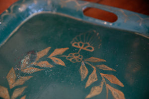 French Vintage Metal Tray - Green Patina