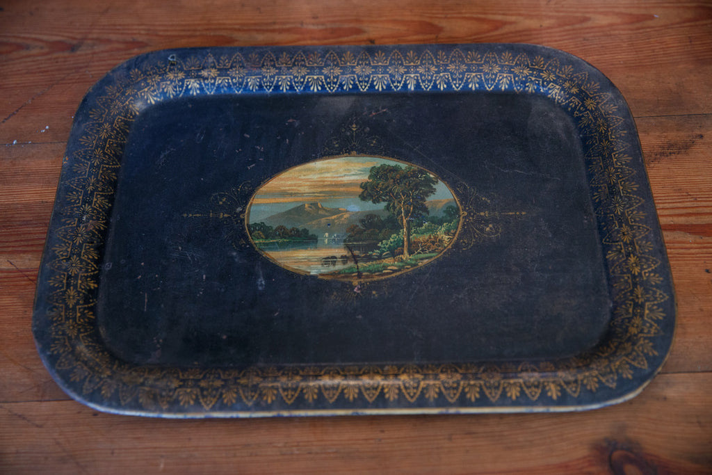 Hand Painted French Metal Tray