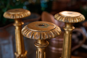 French Gold Wooden Candlesticks