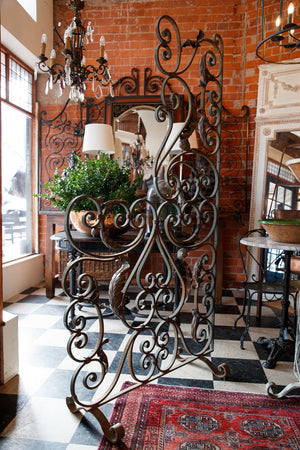 19th Century French Wrought Iron Orangerie Screen - Green Patina