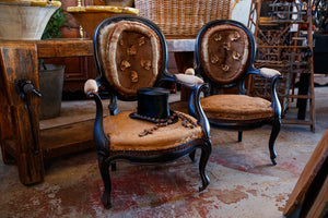 Original Napoleon III Undressed Chairs With Silk Florets