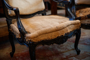 19th Century French Undressed Chairs With Poste Sack Cushions