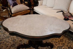 19th Century French Turtle Top Marble Table