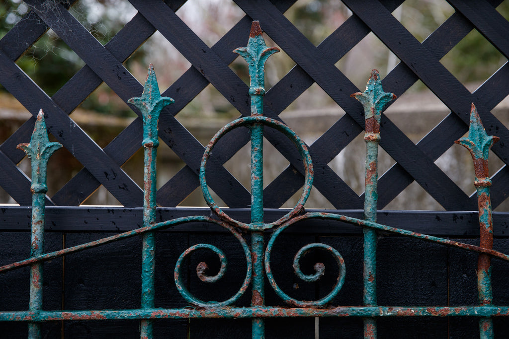 19th Century French Wrought Iron Gate - Green Patina