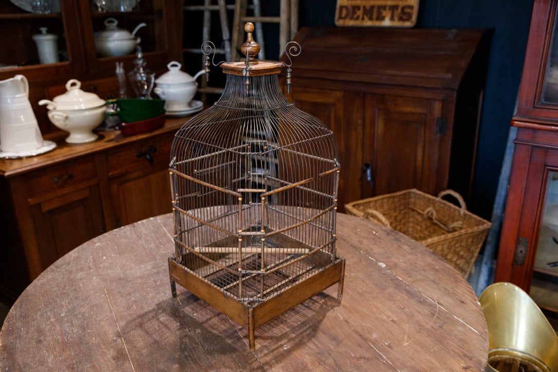 Antique French Wooden Birdcage