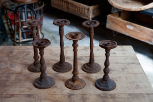 Vintage French Cast Iron Candlesticks