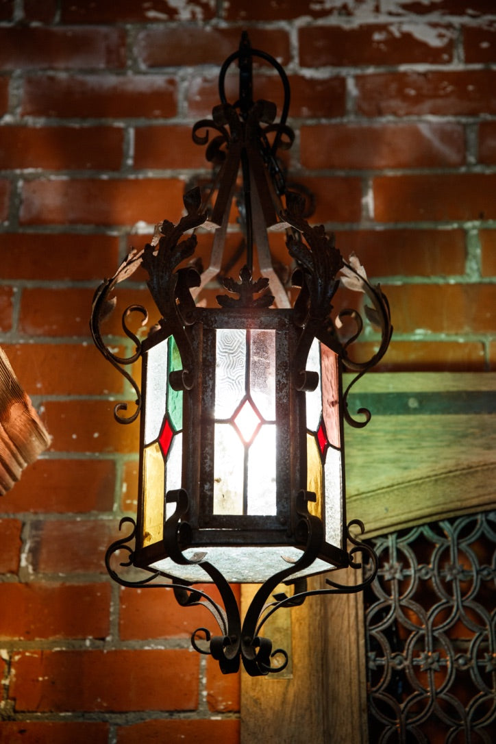 French Wrought Iron Lantern - Stained Glass