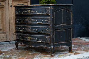 French Louis XV Style Black Chest Of Drawers