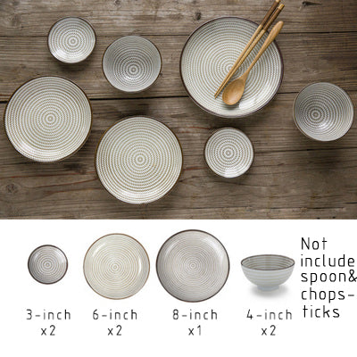 7 pieces ceramic Plate set.  Japanese Style Dishes.