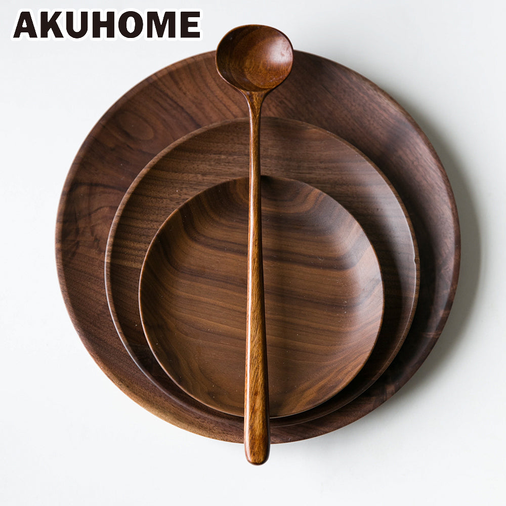 High Quality Plates Black Walnut Wooden Tableware.