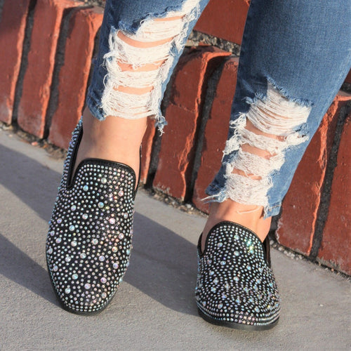Diamond iridescent loafers