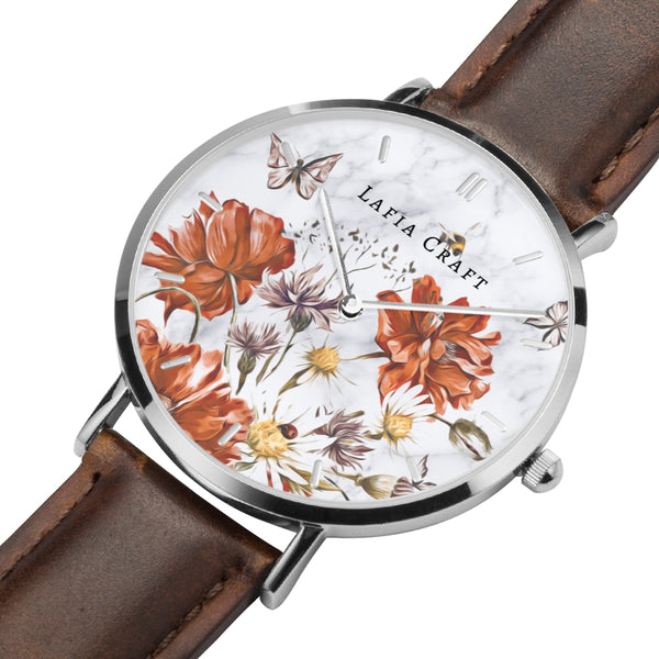 Vintage Floral garden pattern Watch designed for women, it comes with silver case and brown genuine leather strap.
